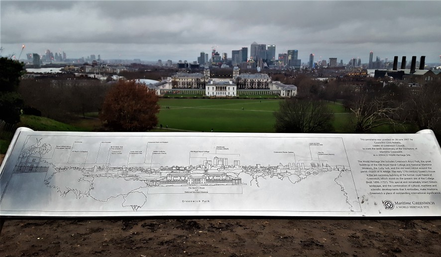 View of London from the hill with the cement prime meridian line.