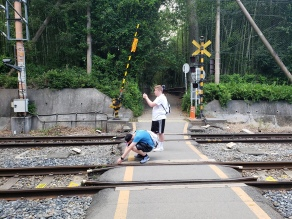 Rule breakers taking photos on live train tracks